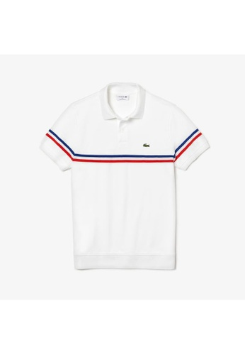 8892a5607298b Lacoste white Men's Lacoste Regular Fit MADE IN FRANCE Tricolour Striped Piqué  Polo Shirt-PH4246