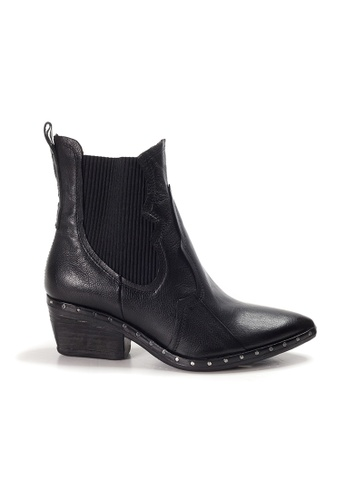 Shu Talk black A.S.98  Italian Leather Elegant Pointed Low Heels Ankle Boots 3A974SHC9A82D3GS_1