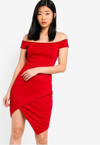 Something Borrowed red Off Shoulder Bodycon Dress 42A08AAF2B5469GS_1