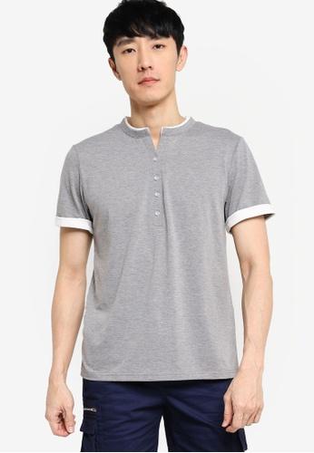 ZALORA BASICS grey and white Button Down Contrast T-shirt E674EAA24C6F4AGS_1