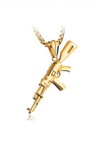 HAPPY FRIDAYS gold Stylish Pistol Pendant Necklace JW OK-1221 87927AC1FABFD5GS_1