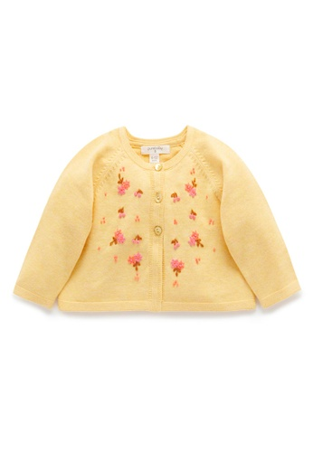 Purebaby yellow Short Cherries Cardigan DA9A9KA5E4FF1FGS_1
