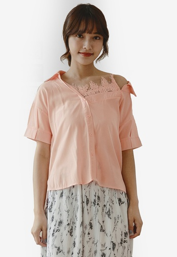 Tokichoi pink V-Neck Lace Detail Blouse D8F9DAA20ABA8FGS_1