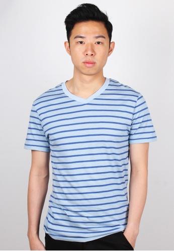 Moley blue Striped V-Neck T-Shirt MO329AA59JWUSG_1