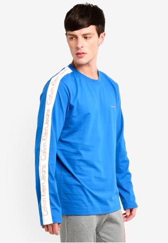 Calvin Klein 藍色 Side Logo Stripe Long Sleeve Tee 545F8AA29EC63FGS_1