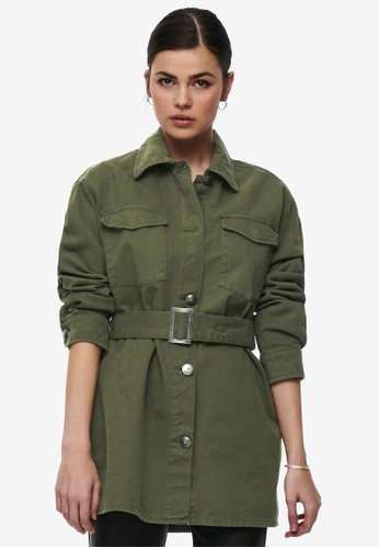 ONLY green Milla Belted Utility Jacket 60A4EAA8EDFCD5GS_1