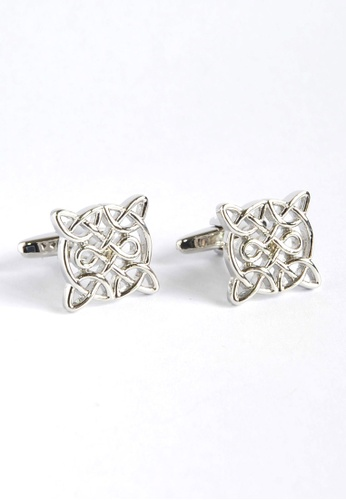 Splice Cufflinks Celtic Design Rhodium Plated Cufflinks SP744AC95XZKSG_1