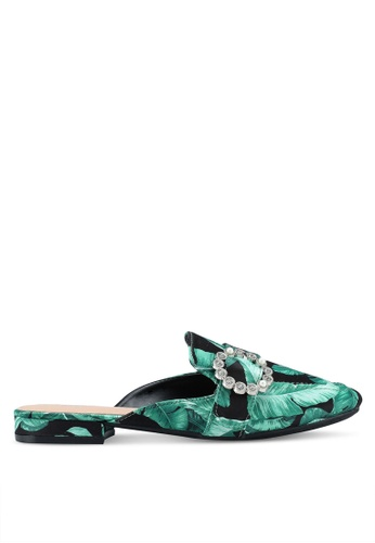 Nose green Satin & Print Pearl Embellished Mules A0C93SHC898753GS_1