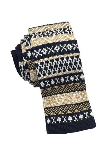 Splice Cufflinks Stencil Series Gold & White Patterned Navy Blue Knitted Tie SP744AC35KVGSG_1