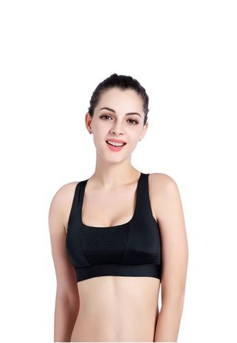 YSoCool black Breathable Sports Cross Back Bandage Running Workout Bra D05CEUS702F559GS_1