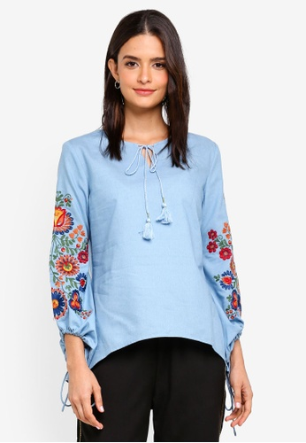 Zalia blue Embroidered Peasant Top A67AEAA337426CGS_1