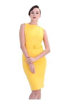 caeb394728e1 DreamTales Wardrobe yellow Boatneck Bodycon Dress A9BF4AA8D6B96FGS_1