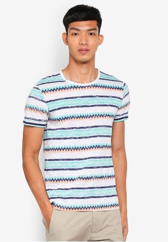 ESPRIT 白色 Zigzag Print Short Sleeve T-Shirt CFF82AAB1CCBD7GS_1