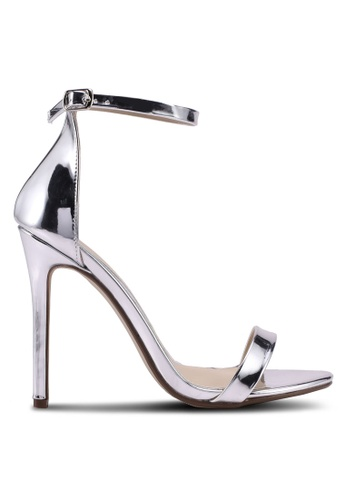MISSGUIDED silver Flat Two Strap Barely There Heels FB0BFSHDE22FDFGS_1