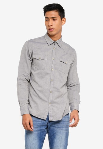 OVS grey Long Sleeves Casual Shirt 25F96AAF8C816CGS_1