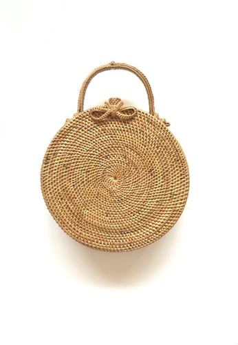 d9e358cebe21 ASHLEY SUMMER CO brown Moon Large Woven Rattan Clutch Bag - Beach Straw  Basket Bag with