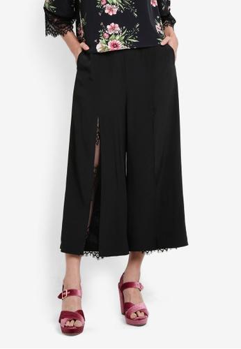 Something Borrowed black Lace Panel Slit Culottes 7D163AA7B962DDGS_1