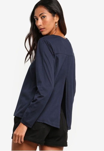 ZALORA BASICS navy Basic Long Sleeves Round Neck Top 8F688AA016CD0DGS_1