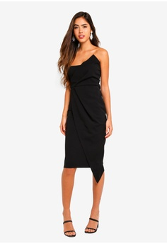 9e470ea59c MISSGUIDED black Bandeau Origami Midi Dress 4E1D8AA704CA8FGS_1