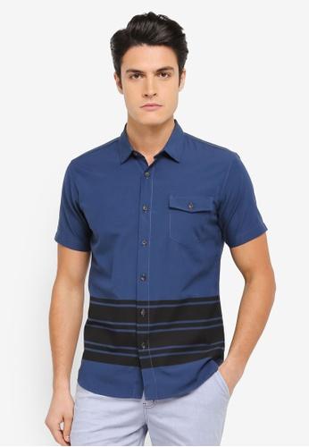 ZALORA navy Printed Stripe Short Sleeve Shirt DFA1FAA2382062GS_1