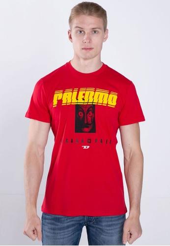 Diesel red T-shirts LCP-T-DIEGO-PALERMO MAGLIETTA D3CBEAA7398F2FGS_1