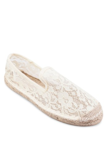 Augusta 蕾絲鉤花麻編懶人鞋,esprit 香港 女鞋, 鞋