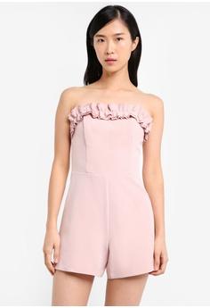 c969ce35a0 Miss Selfridge pink Petite Ruffle Bardot Playsuit MI665AA0SS6KMY 1