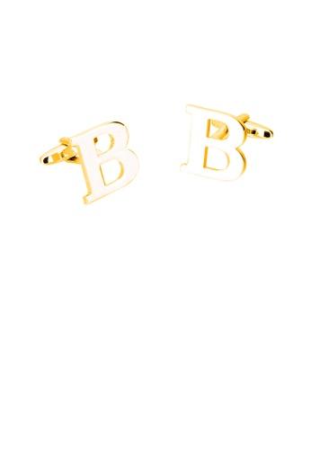 Glamorousky 銀色 簡約個性鍍金色英文字母B袖扣 12671AC053BB7FGS_1