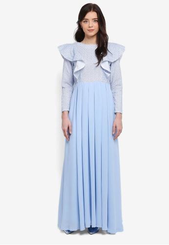 Zalia blue Fit & Flare Lace Frill Dress 8E1F4AA6A62D68GS_1
