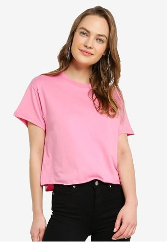 Miss Selfridge pink Pink Organic Short Sleeve Tee 4CAACAA0CAF062GS_1