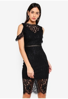 31bb3363d1 Psst... we have already received your request. AX Paris. Lace Cold Shoulder  Midi Dress