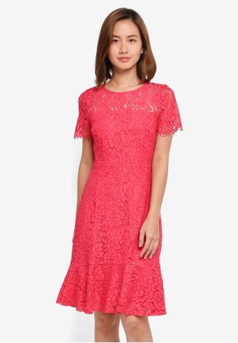 Wallis pink Pink Peplum Hem Lace Shift Dress 2C7F8AA137FC6FGS_1