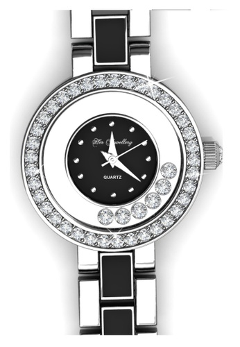Her Jewellery black and silver Crystal Watch (Black) - Made with premium grade crystals from Austria HE210AC16GLNSG_1