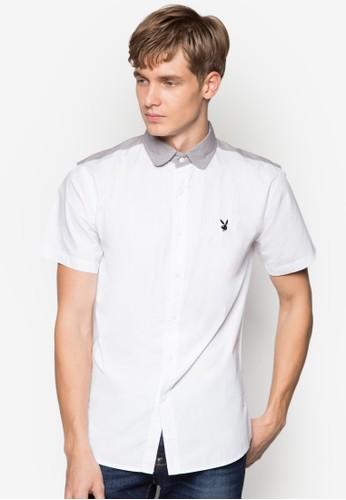 撞色領短袖襯衫, 服飾, 素esprit 台北色襯衫