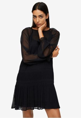 Mango black Textured Flowy Dress F74F7AAE4B19E2GS_1