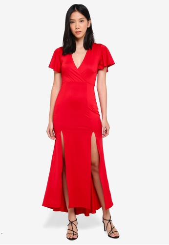 Miss Selfridge red Petite Jersey Prom Maxi Dress A25A1AA13AD7F4GS_1