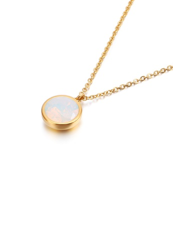 Glamorousky white Simple and Fashion Plated Gold Geometric Round White Cubic Zirconia 316L Stainless Steel Pendant with Necklace 52472ACBF9A75DGS_1