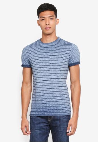 Superdry 海軍藍色 短袖條紋T恤 FBC0BAAC63072FGS_1