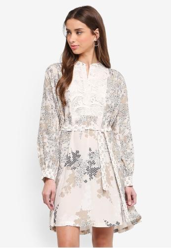 French Connection multi and beige Rishiri Drape Flared Dress 910F9AAE35B07BGS_1