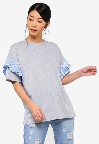 Something Borrowed 灰色 格紋褶飾T恤 47439AA1010E54GS_1