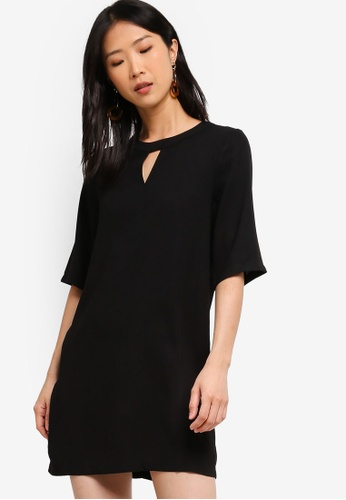 ZALORA BASICS black Basic 3/4 Sleeves Notch Neck Dress B8332AAE1B5348GS_1