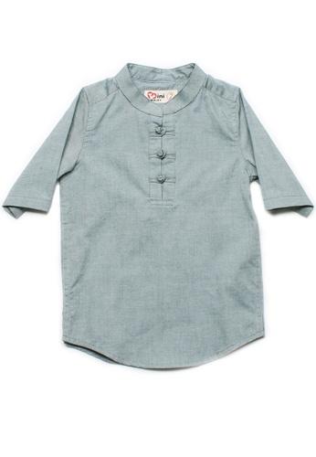 Mini Moley green Oriental Style Boy's 3/4 Sleeve Shirt BD072KAFF8B6DFGS_1