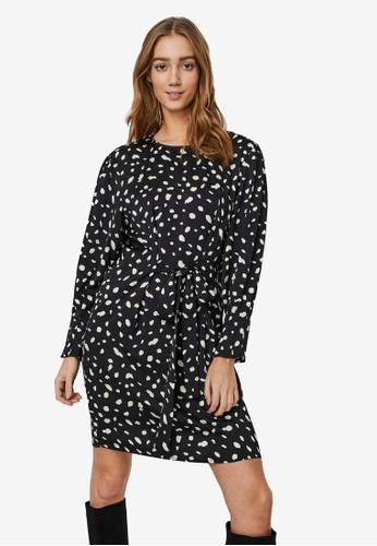 Vero Moda black Calina Long Sleeve Short Tie Dress 24D8BAAA0DC847GS_1