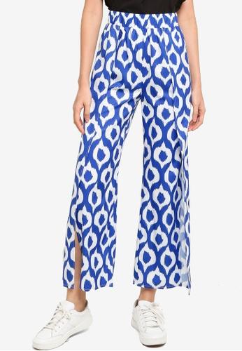 ZALORA BASICS blue Side Slit Palazzo Pants EB4CEAA890A11CGS_1