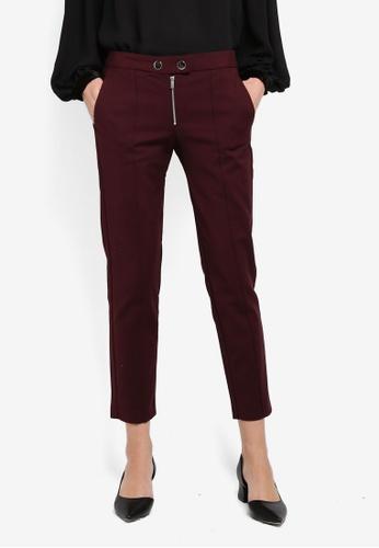 Mango red Zipped Straight Trousers MA193AA0T1DFMY_1