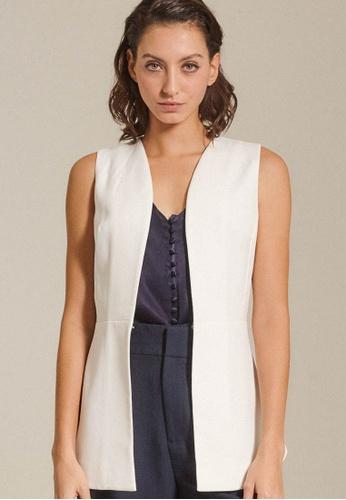 Dressing Paula white Back-Tie Crepe Vest 643EBAA12BA17DGS_1