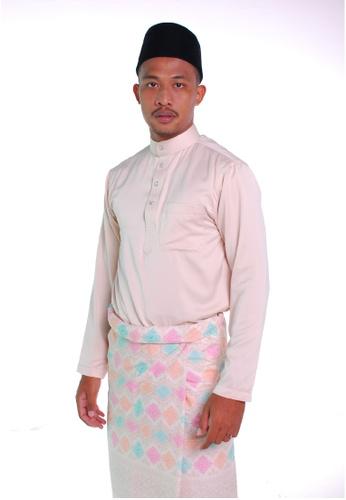 Khalifah by N white and multi and beige Baju Melayu Cekak Musang 1.0 Slim A3A9FAA4263B9CGS_1