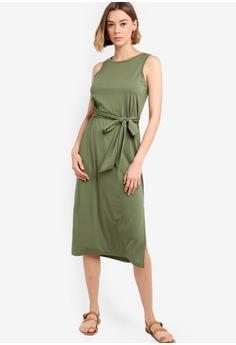 1d7862c64e564 Banana Republic green Sleeveless Ponte Tie Waist Column Dress  142ABAA0128A6DGS_1
