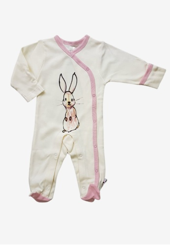 Babysoy white and pink Janey Baby Rabbit Kimono Snap Footie Peony 121D4KAC3F38C7GS_1