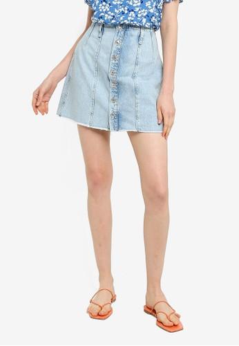 Mango blue Buttoned Denim Skirt 35D94AA8F1C4CEGS_1
